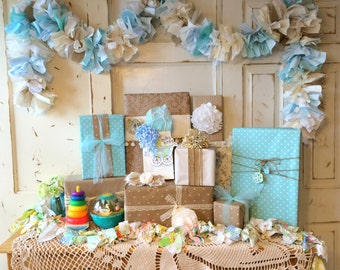 Baby Boy Burlap Shower Party Decoration 6-10 foot fabric Garland Banner, Burlap Party Decor & Photo Backdrop, Handmade, Baby Boy Shower