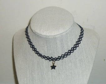 Tattoo Necklace With Black Star Charm Accent