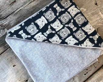 Baby bathrobe , baby towel, forest animals, blue and navy