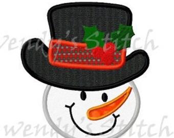 Winter snowman applique machine embroidery design digital pattern