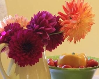 Photo Print - Colorful Dahlias, Fall Flower Arrangement, Fall Vegetables, Yellow Vintage Vase