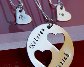 Mother Daughter Necklace Set Mother Daughter Jewelry- 2(two) daughter necklaces-Mother Daughter Jewelry-Heart Cut Out Necklace