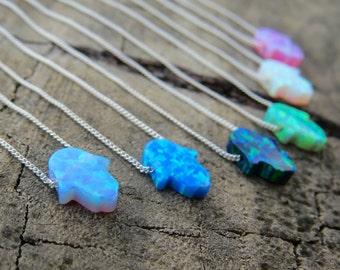 Opal Necklace, Opal Hamsa Necklace, Opal Hand Necklace, Silver Necklace, Hamsa Necklace Evil Eye Necklace Silver Hamsa Necklace Opal Jewelry