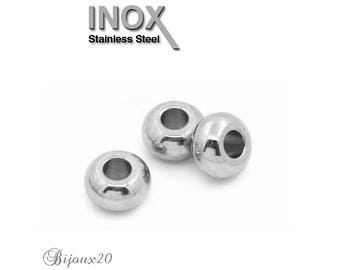 10 spacer beads 5 x 2, 5mm flat round stainless steel set M01047