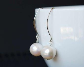 Classic Freshwater Pearl Long Hook Earrings, Simple Elegant Design, Sterling Silver Ear Flat ear hooks