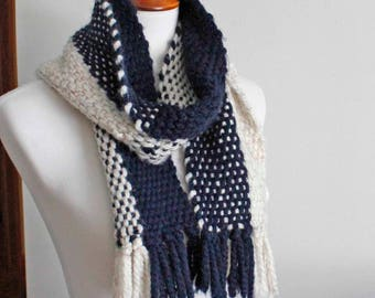 Chunky Scarf, Scarf, Woven Scarf, Blue Scarf, Color Blocked Scarf, Colorful Handwoven Scarf, Wool Scarf, Winter Scarf, Girlfriend Gift