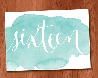 Blue Watercolor Table Numbers DIY Table Numbers sized to fit 5x7 picture frames, Instant Download Printable Table Numbers 1-20
