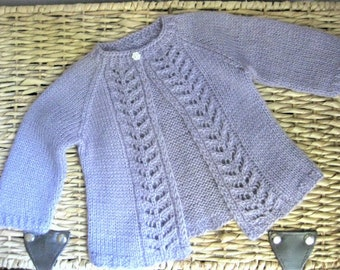 Hand Knitted Baby Girl Lacy Lavender Cardigan Sweater