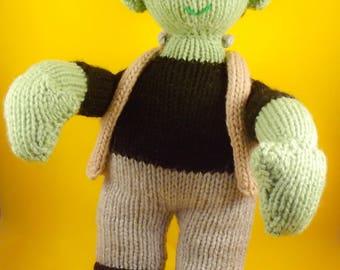 Frankenstein toy, horror toys, soft toy, stuffed toy, plush toy, knitted toy, frankenstein doll