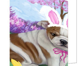 Bulldogs Easter Holiday Set of 10 Greeting Cards