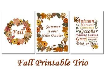 Autumn Wall Art - Fall Printables - Instant Download - Fall Wall Art - Autumn Printables - Fall Print - Autumn Wall Decor set - Fall Set