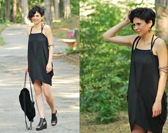 Gothic Dress, Steampunk Dress, Festival Dress, Sleeveless Dress, Gothic Tunic, Gothic Clothing, Black Tunic Dress, Loose Tunic Dress