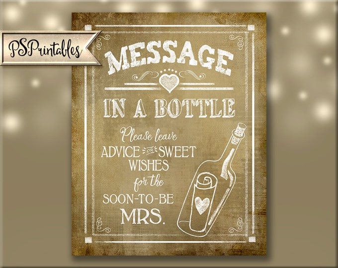 Message in a Bottle Engagement Party Vintage Printable Advice sign - for the soon to be Mrs - Nautical theme bridal shower - Rustic heart