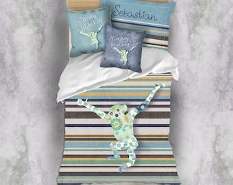 personalised duvet twin bedding toddler bedding monkey decor boy bedroom decor custom duvet custom bedding kids room decor boys bedding