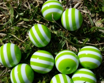 Lime Green Stripe Bead| Chunky Beads | Gumball Beads | Stripe Beads |  Chunky Bead Necklace |