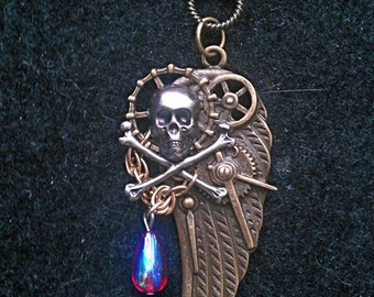 SteamPunk Pirate Wing Pendant Necklace