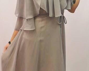 1970s After six Grey floaty mid length maxi dress