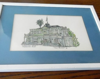 Pen & Ink drawing, Pleasanton Hotel, Pleasanton California, by Terri Bence. Framed,  matted. 10 x 22 1/2""