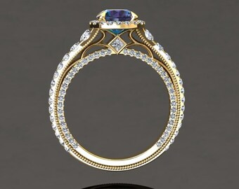 Modern Alexandrite Yellow Gold Ring 1.50 Carat Color Change Alexandrite And Diamond Ring 14k or 18k Yellow Gold Style Number VS2ALEXY