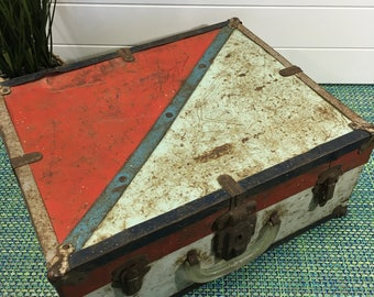 Vintage Metal Roller Skate Box Red, White and Blue Paint - rustic metal box, roller skate storage box, red, white and blue metal box, box