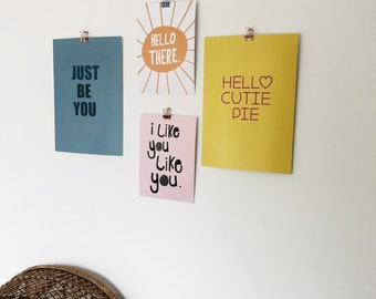 Hello cutie pie A4 print wall art nursery positive colourful