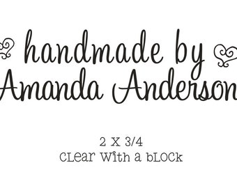 Handmade by custom rubber stamp with a script font for the back of cards