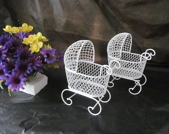 Vintage Mini Wire Baby Carriages - (Set of 2) - Great for Baby Shower Decorations