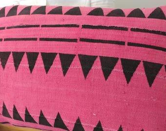 New Pink and Black Tribal Print Large Lumbar
