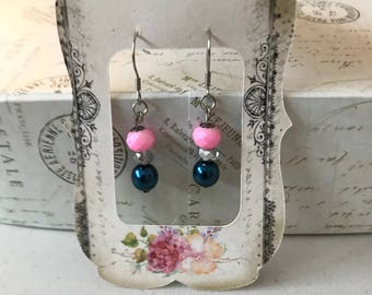 Cotton Candy Pink and Swarvoski blue pearl earrings