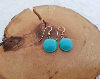 Turquoise earrings, Fused glass earrings, Fused glass jewelry, Dangle earrings, Minimalist earrings, Everyday earrings, Fashion jewelry