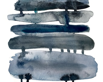 stormy abstract watercolor painting print, indigo blue, black, gray