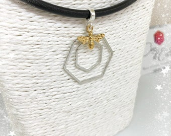 Hexagons necklace silver and gold