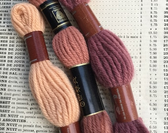 Vintage French DMC wool yarn for embroidery and needlework. French wool for crochet and scrapbooking , card making