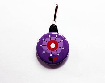 Flower zipper pull, purse charm, abstract flower, backpack zipper pull, zipper pull, flower charm, charm, stocking stuffer, purple (7546)