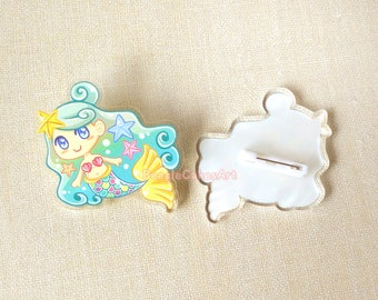 Mermaid Pin, Acrylic Pin, Enamel Pin, Beach Accessory, Mermaid Brooch, Kawaii Pins, Anime Pin, Plastic Pins, Acrylic Charms, Lapel Pin, Gift
