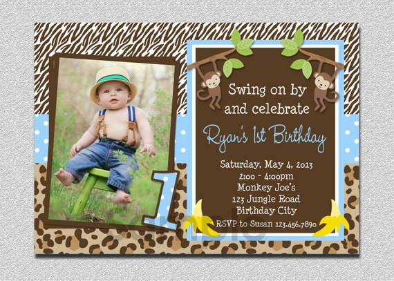 Boys jungle birthday invitation monkey birthday invitation filmwisefo Image collections