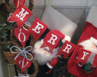 Merry Christmas Banner, Red burlap banner, Burlap banner, Christmas banner, Holiday decor, Christmas mantle decor, mantle banner