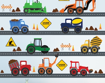 Construction Trucks Decal HUGE Reusable Fabric Decals, THIRTY TWO Feet of Roadway, a225