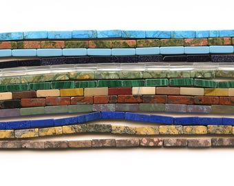 4x13 Rectangle Natural Beads in multiple material. Lapis, Unakite, Blue Goldstone, Fancy Jasper, Malachite, Rhyolite. Gemstone Beads Supply