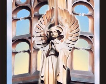 Watching Over You. Guardian Angel. Mounted digital print in full colour.