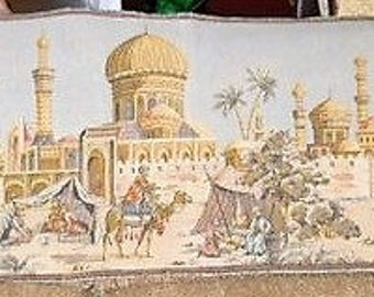 1930's Vintage Tapestry Wall Hanging Middle Eastern Scene