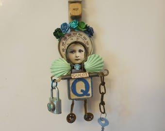 Queen Gift, QUEEN SIGN, Hot Girlfriend, Found Object Assemblage, Original Mixed Media Art, Altered Art Doll, Artdoll, Hot Chic Sign Gift Art