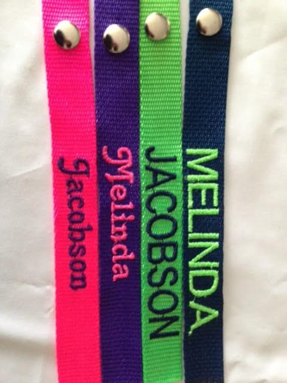 Luggage Tags - embroidered, personalized in a wide variety of colors for tag  and thread. Use for Gym bags, luggage, backpacks.