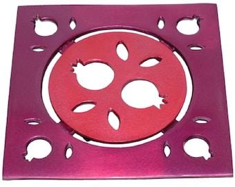 Hot Pot Stand Trivet Aluminum Burgundy Pomegranate Cut-out Decoration