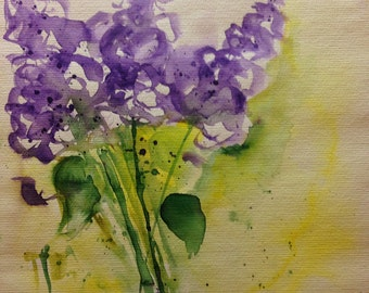 "Original watercolor painting Flowers ""lilac"" picture unique art Watercolor flowers"