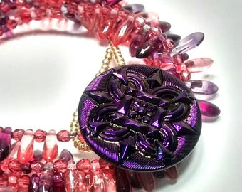 Pink and Purple Dagger Wrap Bracelet