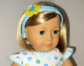 Gingham and Dots, Oh My! Blue and Yellow Dotted Dress with Scalloped Hem for 18-Inch Doll
