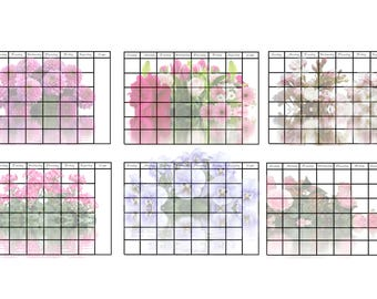 2018 Floral Calendar Digital Instant Download 12 Months