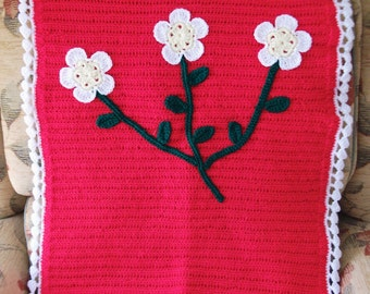 Sale - HALF PRICE! Gorgeous Vibrant Crocheted Baby Blanket with Flowers.  UK Seller!