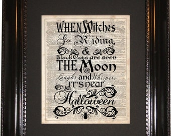 Halloween Witch, Dictionary Art Print, Vintage Dictionary, Silhouette, Halloween Print, Witches, Halloween Decor, Witch Quote, Witch Art